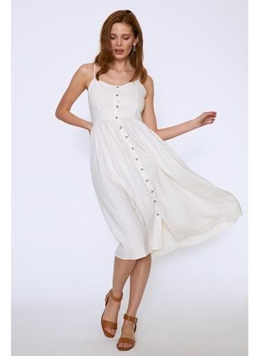 Quzu Askılı Önü Düğmeli Elbise Ekru